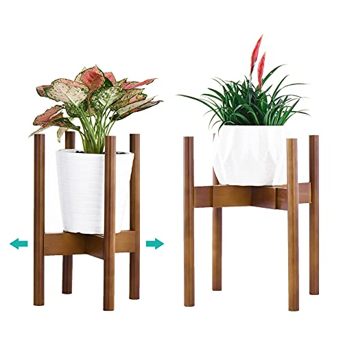 Reservilla Mid Century Wood Soporte ajustable para plantas, moderno soporte para macetas,...