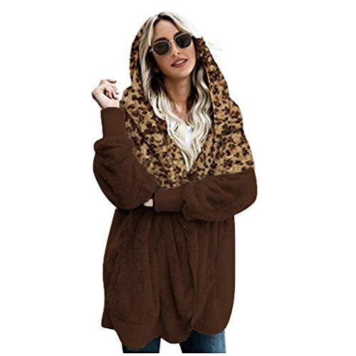 Bluestercool Donne Winer Plus Dimensione Giacca Caldo Leopard Splice Outwear Peluche Lungo Cappotto