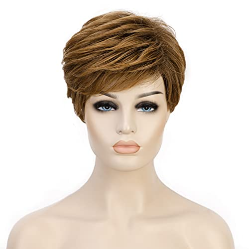 ENTRANCED STYLES Short Pixie Cut Wigs for White Women Light Brown Short Hair Wigs for Women Heat Resistant Synthetic Wig Natural Looking Daily Party Use