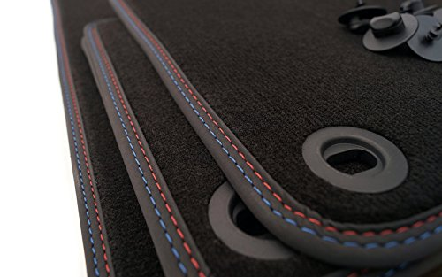 kh Teile Fußmatten M3 E36 3er Cabrio Premium (Velours) Doppelnaht M-Edition Rot Blau Tuning Automatten 4-teilig