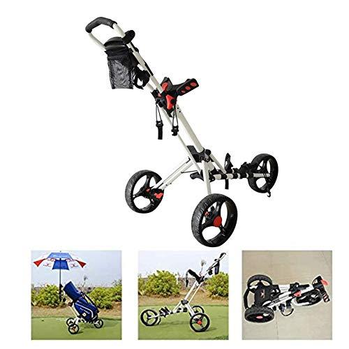 3-Rad Golftrolley, Golfwagen Golf Klappbar Mit Griffeinheit, Getränkehalter, Ballhalter, Regenschirmhalter, Scorekartenhalter Für Outdoor Travel Sport