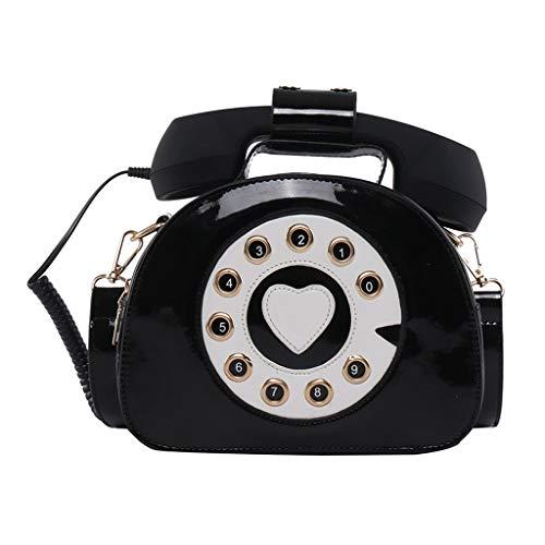 JERKKY Neue Umhängetasche, Damen Damen Telefonförmige Umhängetasche PU Leder Umhängetasche Einkaufstasche Handtasche Shopping Street School Schulranzen Schwarz