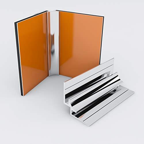 Duschrückwand-Profilsystem Inneneckprofil Aluprofil Aluminiumprofil für 3mm Duschrückwand Küchenspiegel 300cm hochglanz