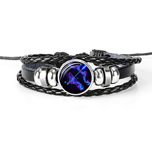 Candle Art Sagitario | Pulsera Zodiaco. Cuero Trenzado, Negro, con su constelación del Signo. Cúpula de Cristal, Unisex (Sagitario)