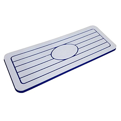 Mariner Watersports Helm Pads for Boats | Non Slip Standing 1 Inch Thick Boat Cushions, Anti Fatigue, Adhesive EVA Foam Backing, Firm Shock Absorbing Flooring Boat Mat, Blue/White, 36 inches