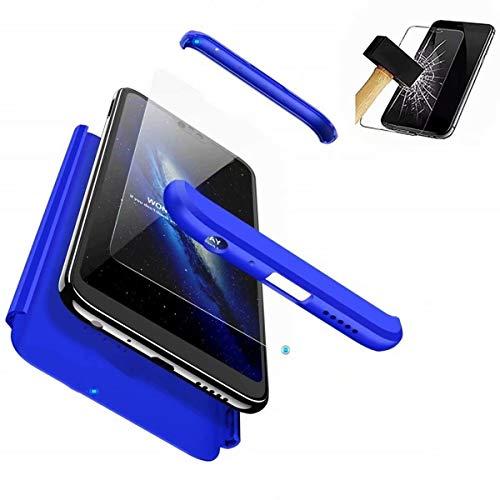 HUOCAI Coque pour Nokia 6 2018/Nokia 6.1 Etui 360 Housse PC Hard Shell Anti-Choc Full-Cover Case Scratch Pare-Chocs Matte Casque de Protection +Film de Verre trempé (Bleu)
