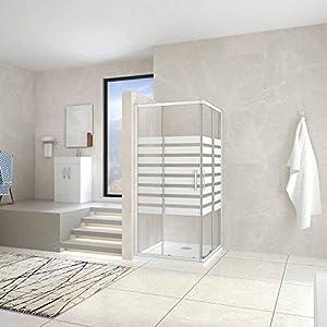 80x80x195cm Mamparas Cabina de ducha con Puerta corredera de 8 ruedas vidrio templado 5MM