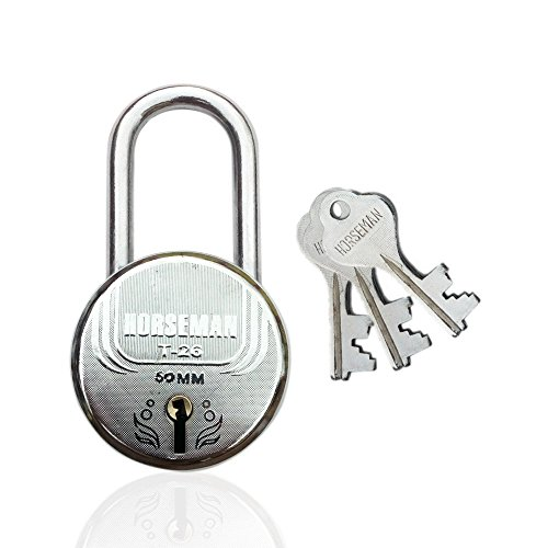 HORSEMAN Steel Long Shackle 7 Levers Lock with 3 Keys for Collapsible Gate of Grill Gate (Silver)