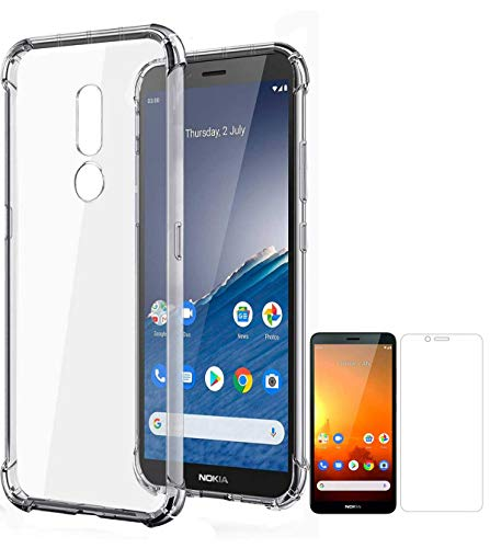 RRTBZ Transparent Bumper Corner Soft Silicone TPU Flexible Back Cover for Nokia C3 with Screen Guard