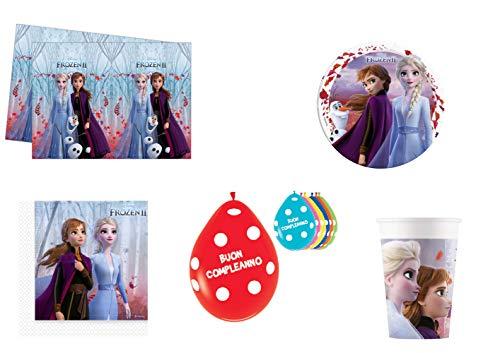 ELSA Kit de fiesta de cumpleaños Frozen II Anna Party Addobbi y decoración de mesa 8 platos, 8 vasos, 16 servilletas, mantel y globos 20 unidades de regalo (8 personas)