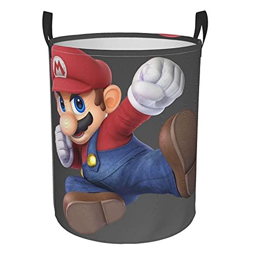 Super Mario - Cesta de lavandería redonda impermeable con asa, de pie y plegable multifuncional (dos tamaños) S