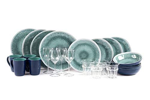 Sesua KAMPA Melamin-Set Campinggeschirr Aegean 24 Teile incl.4X Wein+4X Wasserglas