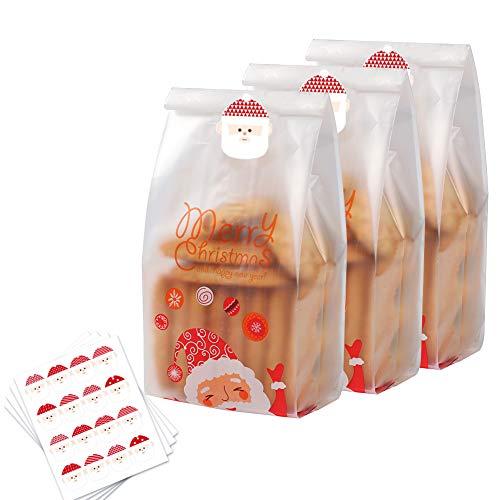 Sacchetti di biscotti di Natale 50 pezzi sacchetti per regali traslucidi con adesivi Sacchetti di plastica di Babbo Natale per torta Caramelle Snack al cioccolato Panetteria Pane Cupcake Ciambelle