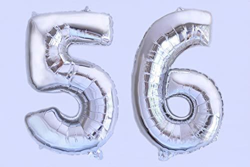 Globo numero 56 o 65 plata. Globos Gigante números 5 6 del 0 al 99 fiestas cumpleaños decoración fiesta aniversario boda tamaño grande 70 cm con accesorio para inflar aire o helio (56/65 Plata)