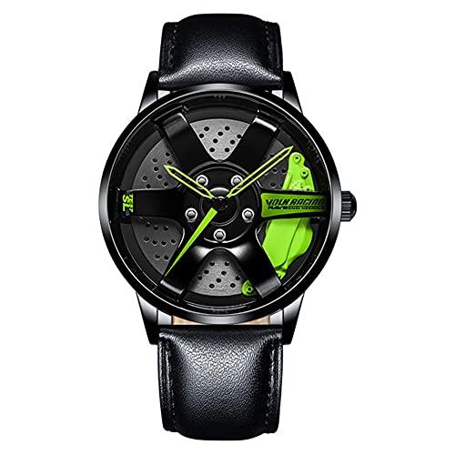 HEEYEE 3D Modelo de Hilado RIZ Watch HUB DISEÑO Personalizado Coche Deportivo RIZ Rota DE ROTACIÓN DE 360 Grado Reloj Creativo Impermeable,Verde,C