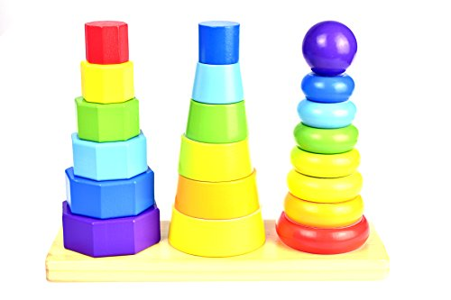 Tooky Toy Jeux en bois - Tooky Toy- Jeu des Formes empilables en Bois