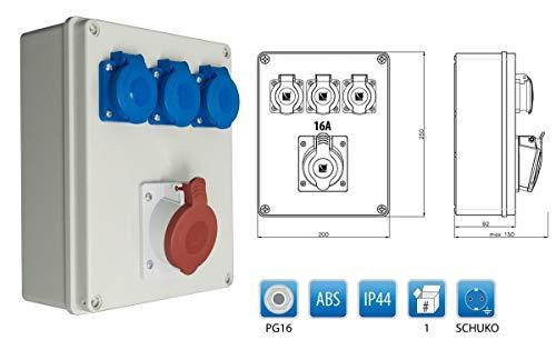 Baustromverteiler Wandverteiler 1 x CEE16A/400V + 3 x Schuko 230V/16A verdrahtet