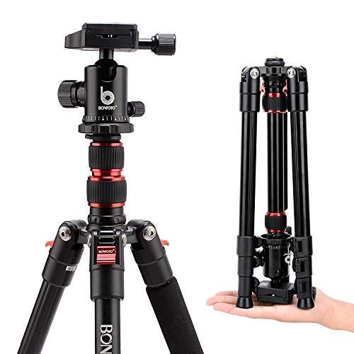 Kamera Stativ, BONFOTO B690A 136cm Aluminium-Leichtbau Reisestativ, 2-in-1 tragbares Kamerastativ Makrostativ mit 360°Panorama Kugelkopf und 1/4 Zoll Schnellwechselplatte für DSLR Kamera Camcorder