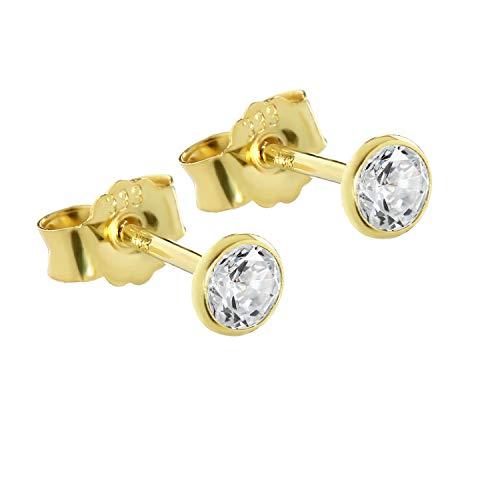 NKlaus Paar Ohrstecker Gold 333er 4mm Cubic Zirkonia Damen Herren Kinder 0,45g 3753
