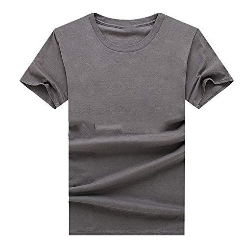N\P Camiseta delgada de cuello redondo para hombre de manga corta holgada camiseta de hombre - gris - Large