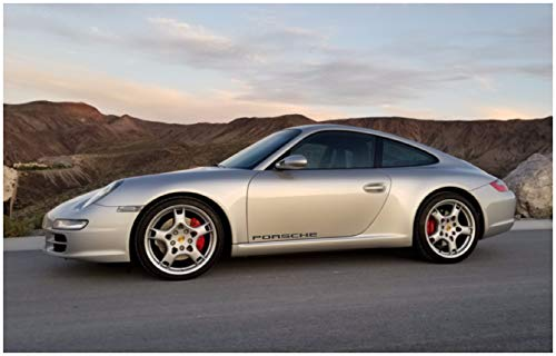 Door Decals Compatible with Porsche (Black) 30 INCH