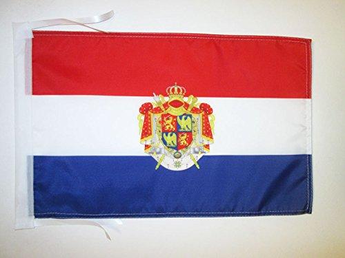 AZ FLAG Bandera del Reino DE Holanda 1806-1810 45x30cm - BANDERINA Holandesa DE Bonaparte 30 x 45 cm cordeles