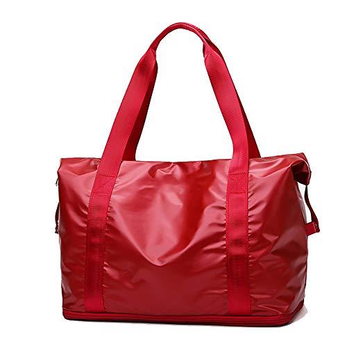 Bolsa de Viaje Impermeable - Bolsa de Deporte para Gimnasio con Bolsillo Mojado y Compartimento para Zapatos Bolsa de Fin de Semana Durante la Noche para Hombres (Red)