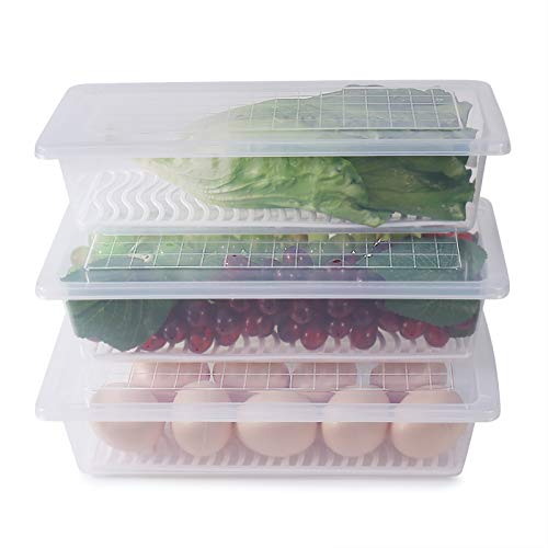 77L Recipiente de Almacenamiento de Alimentos, (Paquete de 3) Recipientes de Plástico para Alimentos con Plato Drenaje Extraíble y Tapa,Portátiles Apilables,Bandeja para Guardar Carne y Más (M