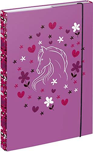 Baagl Heftbox für Schulranzen A4 - Sammelmappe für Kinder mit Gummiband und Innenklappen - Heftmappe, Sammelbox mit Gummizug für Mädchen (Pferde)