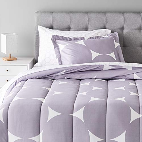 Amazon Basics 5-Piece Light-Weight Microfiber Bed-In-A-Bag Comforter Bedding Set - Twin, Purple Mod Dot