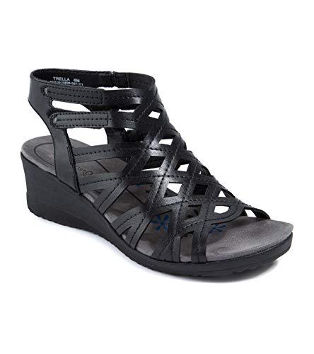 BareTraps Womens Trella Open Toe Casual Ankle Strap Sandals, Black, Size 7.5