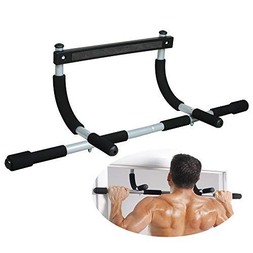 Sanhai Pull-up-Bar, Multi-Grip Lite Pull Up/Zu, Iron Gym Gesamtoberkörpertraining Bar, Heavy Duty Tür Trainer für Sportstudio im Hause,Silber