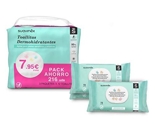 Suavinex toallitas bebé dermohidratantes 216 unidades, aptas para pieles atópicas, 100% biodegradables, 96% ingredientes de origen natural, pack 3 x 72 (216 toallitas)