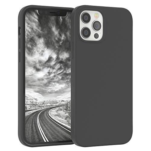 EAZY CASE Premium Silikon Handyhülle kompatibel mit Apple iPhone 12/12 Pro, Slimcover mit Kameraschutz & Innenfutter, Silikonhülle, Schutzhülle, Bumper, Handy Hülle, Hülle, Softcase, Anthrazit
