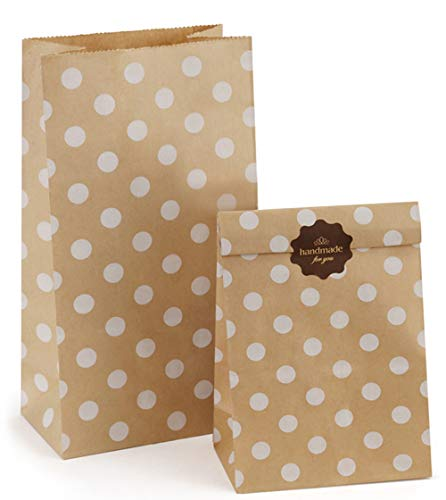 BagDream Brown Dot Paper Lunch Bags Bread Bags 12lb 7x4.5x13.75 Inches 100Pcs Kraft Paper Bags Bulk, Paper Snack Bags, 100% Recycled Kraft Lunch Bags