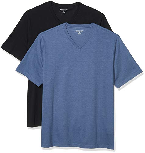 Amazon Essentials Men's 2-Pack Loose-Fit Short-Sleeve V-Neck T-Shirt, Black/Navy Heather, Large