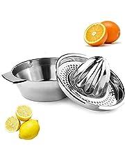YAVO-EU Citruspers van roestvrij staal, handmatig met reservoir, citroenpers, sappers, citrusvruchten, vaatwasmachinebestendig, robuust en duurzaam