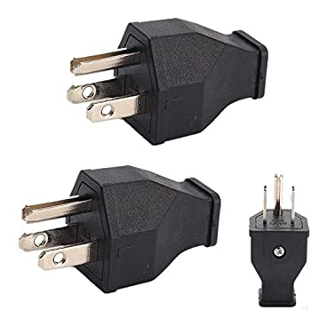 2xPCS 15 Amp 125 Volt Straight Blade Plug Plug Straight Blade Grounding,3-Wire Male Extension Cord Replacement Electrical Plugs End Black