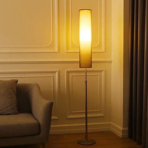 Stehlampe E27 Vintage Stehleuchte Metall Standleuchten Wohnzimmer Mit Stoffschirm, Pole-Licht Höhenverstellbar, Weiches Stimmungslicht,Braun