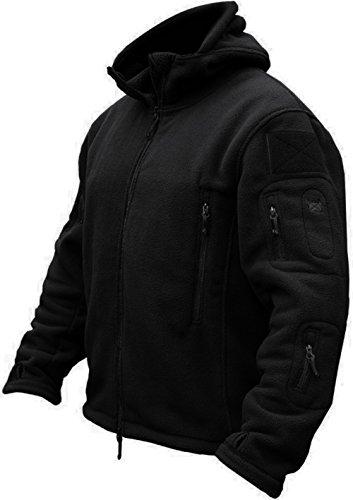 TACVASEN Windproof Men's Military Fleece Combat Jacket Tactical Hoodies, Black, XL