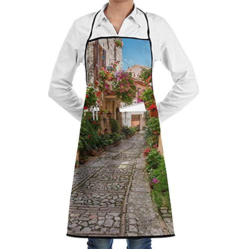 LOSNINA Delantal de cocina impermeable para hombres delantal de chef para mujeres restaurante de jardinería BBQ,Toscana histórica calle mediterránea llena de flores ciudad en día soleado de Italia