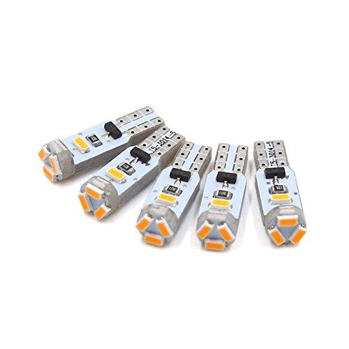 sourcing map 5pcs 12V T5 1206 5 SMD LED Jaune sur jauge Tableau Bord Interne lumière