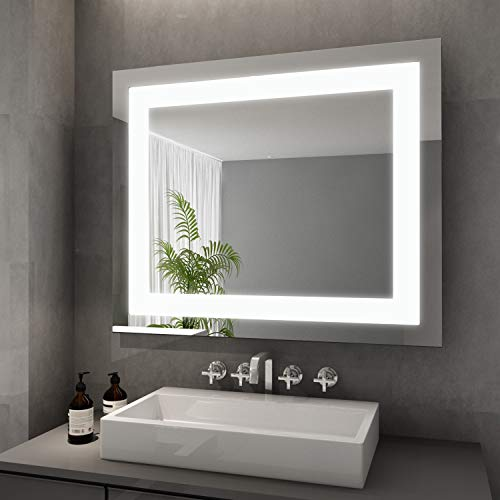 Elegant Badspiegel mit LED-Beleuchtung Energiesparend Lichtspiegel 60 x 50 cm kaltweiß IP44 Badezimmer Wandspiegel Bad Spiegel