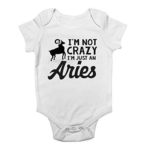 Mono de bebé Promini con texto en inglés «I'm Not Crazy I'm Just an Aries» – Body para bebé de una sola pieza – Pelele para bebé