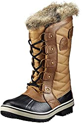 Tan and black Sorel womens snow boots