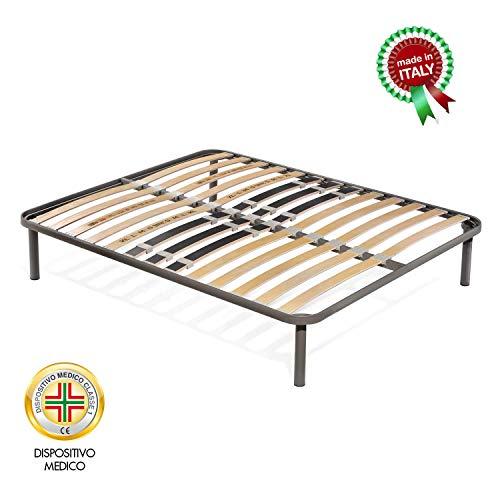 Goldflex HOLLY PLUS DOUBLE- Rete a doghe in legno con struttura in acciaio ortopedico, 160 x 200 cm