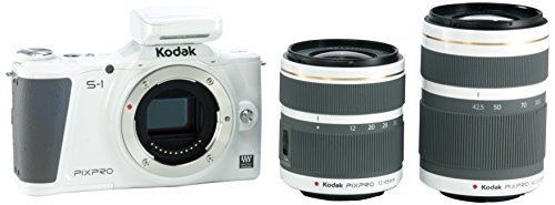 Kodak PIXPRO S-1 Compact System Digital Camera with 12-45mm Lens, 42.5-160mm Lens and 3' Articulating LCD Screen (White)