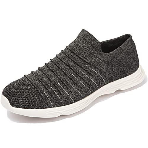 Zapatillas Casuales para Hombre Calzado Deportivo Bajas de Moda Sandalias de Verano Ligeras y Transpirables Gris Negro 41