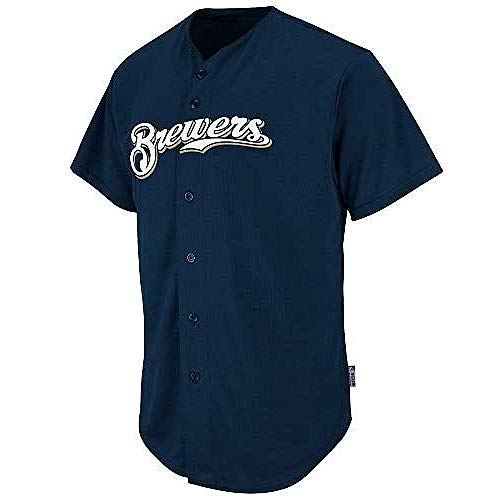 Adult 3XL Milwaukee Brewers Blank Back Replica Full-Button Navy Blue