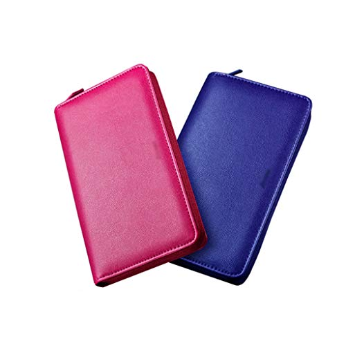 SFF Journals A6 PU Leather Notebook Binder Refillable Travel Journal Business Notepads with Loose Leaf Cover Zipper Student Notebook (Color : Blue+Pink)